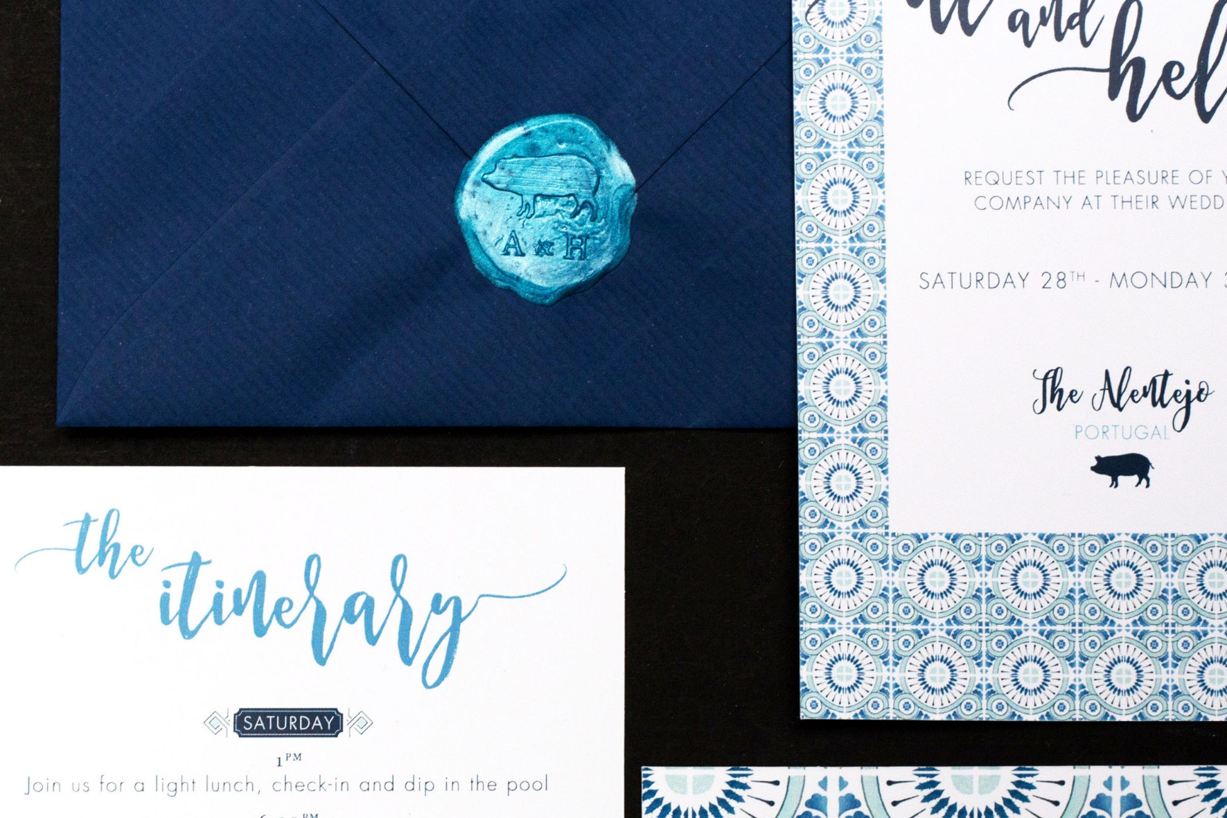 Portuguese tile wedding invitation