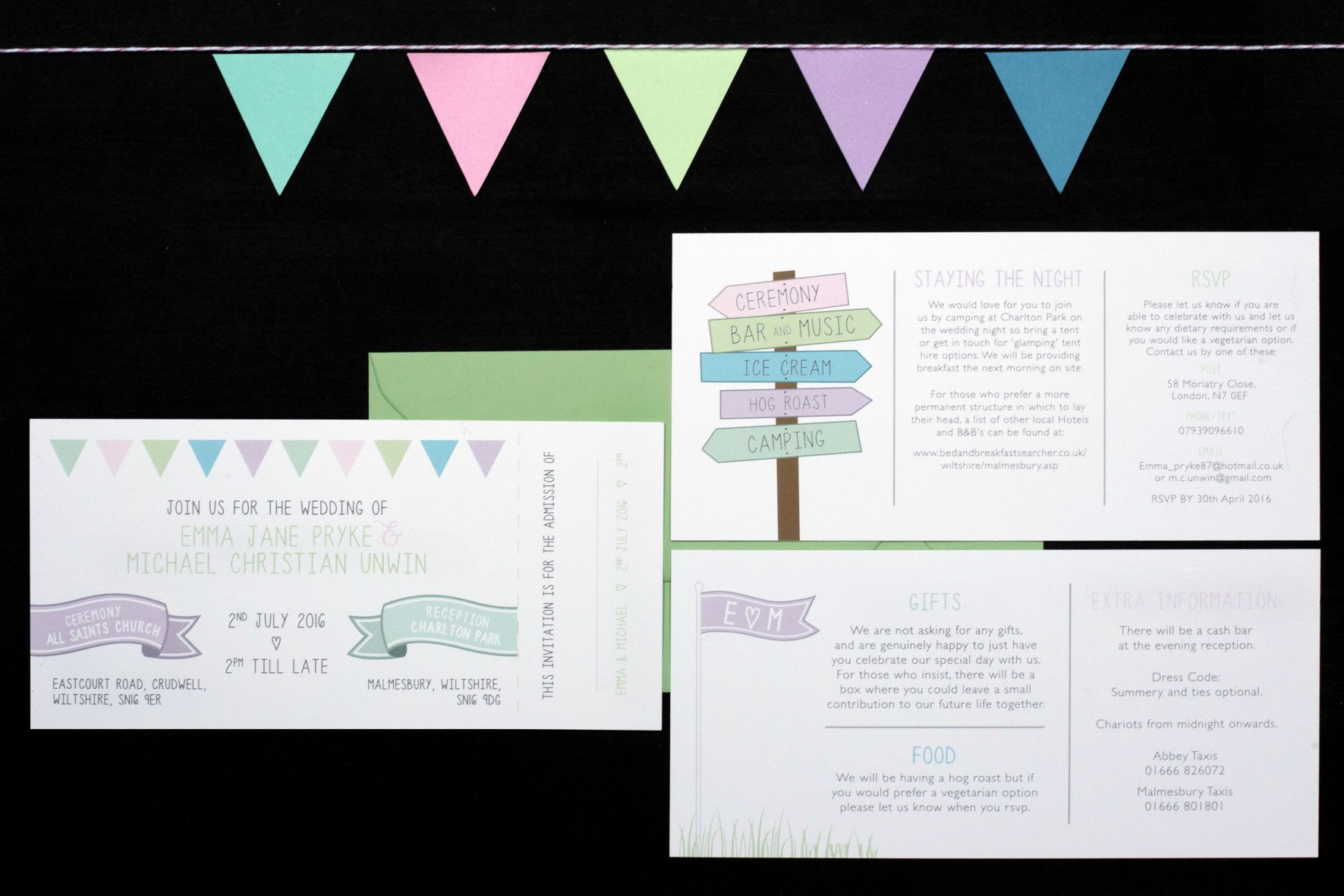 festival wedding bunting invitation