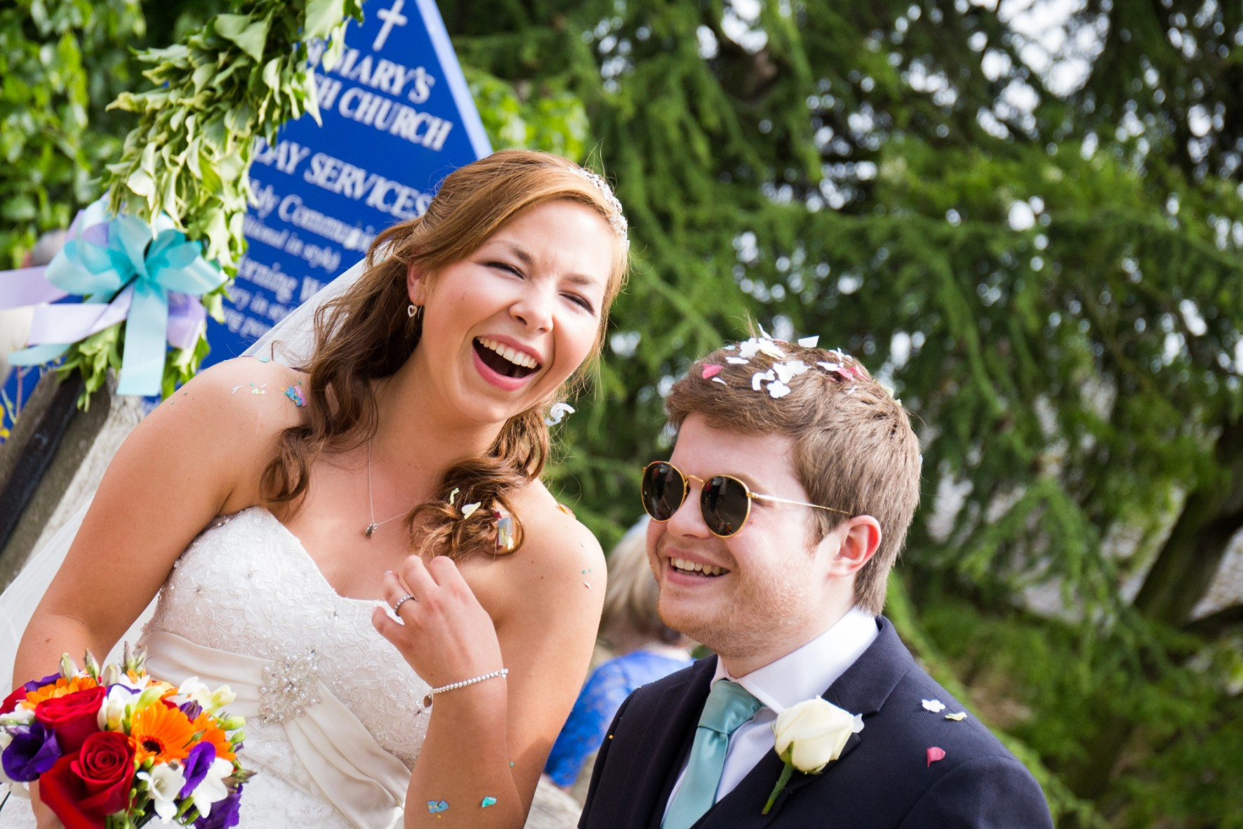 Neil and Dani The Old Hall Ely Wedding Photography St Mary's Church Confetti
