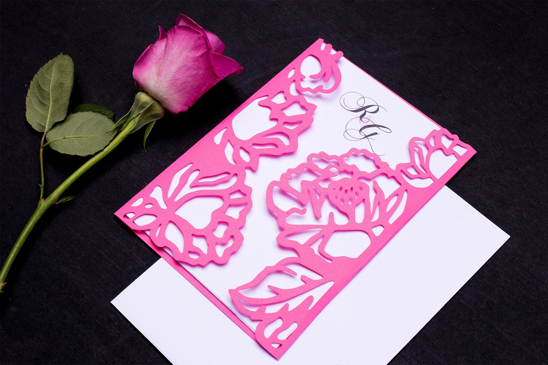 Pink floral wedding die cut invitation suite