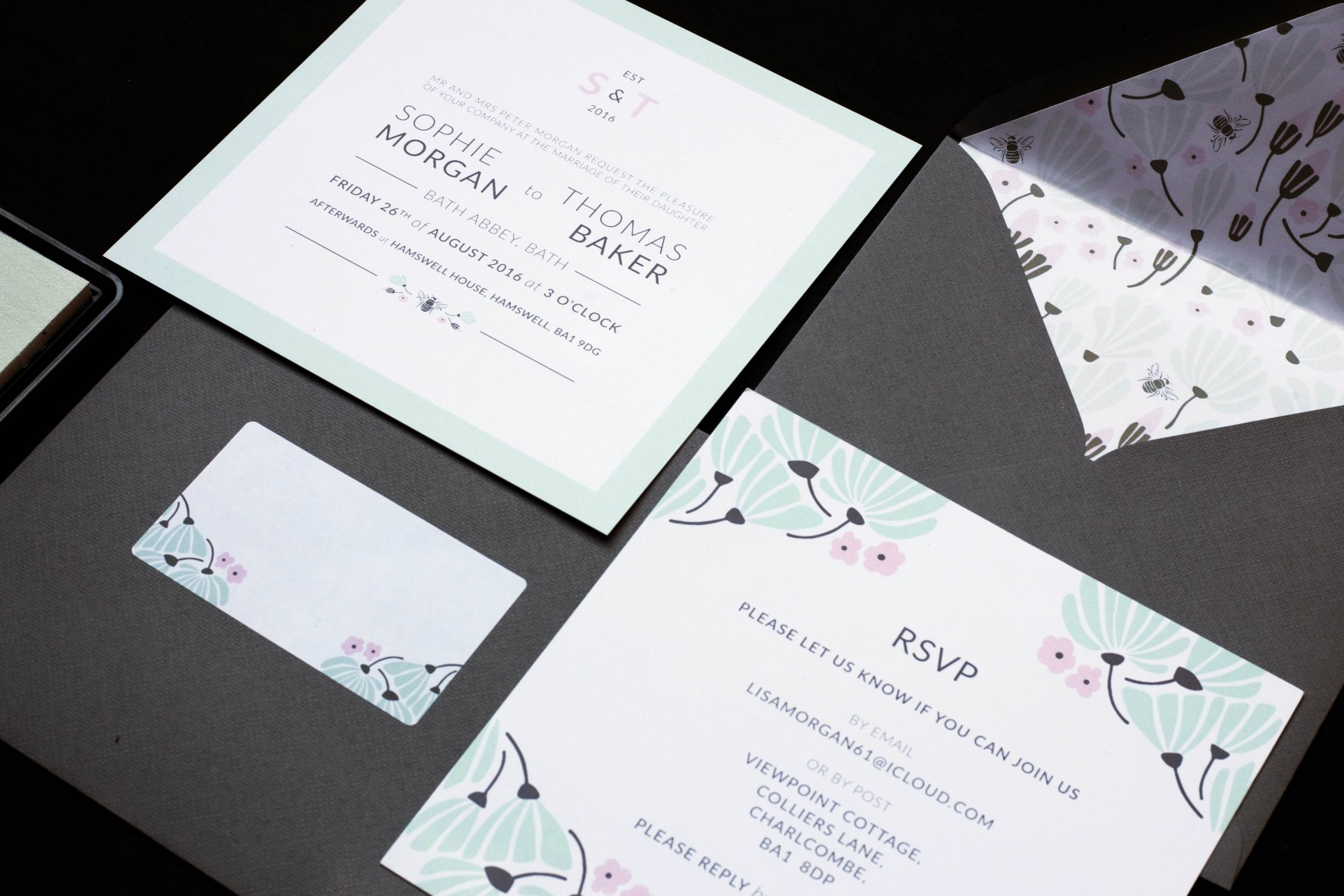 bespoke wedding stationery design by rose paper scissors