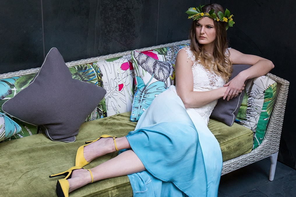 South Place Hotel Styled Shoot Urban boho blue and yellow
