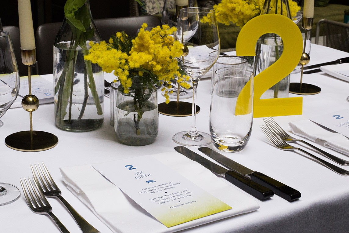 South Place Hotel Styled Shoot Urban boho blue and yellow tablescape
