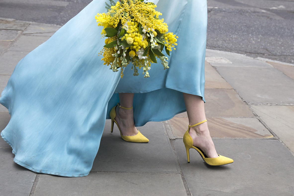 South Place Hotel Styled Shoot urban boho blue and yellow rings dip dye dress lola