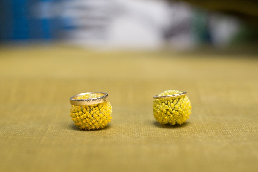 vSouth Place Hotel Styled Shoot urban boho blue and yellow rings on billy balls