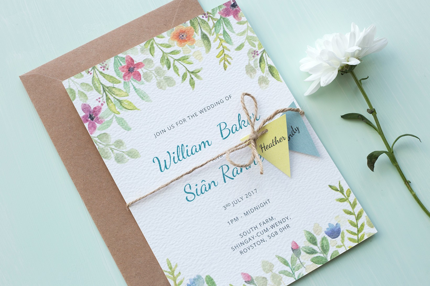 Festival inspired floral watercolour wedding invitation