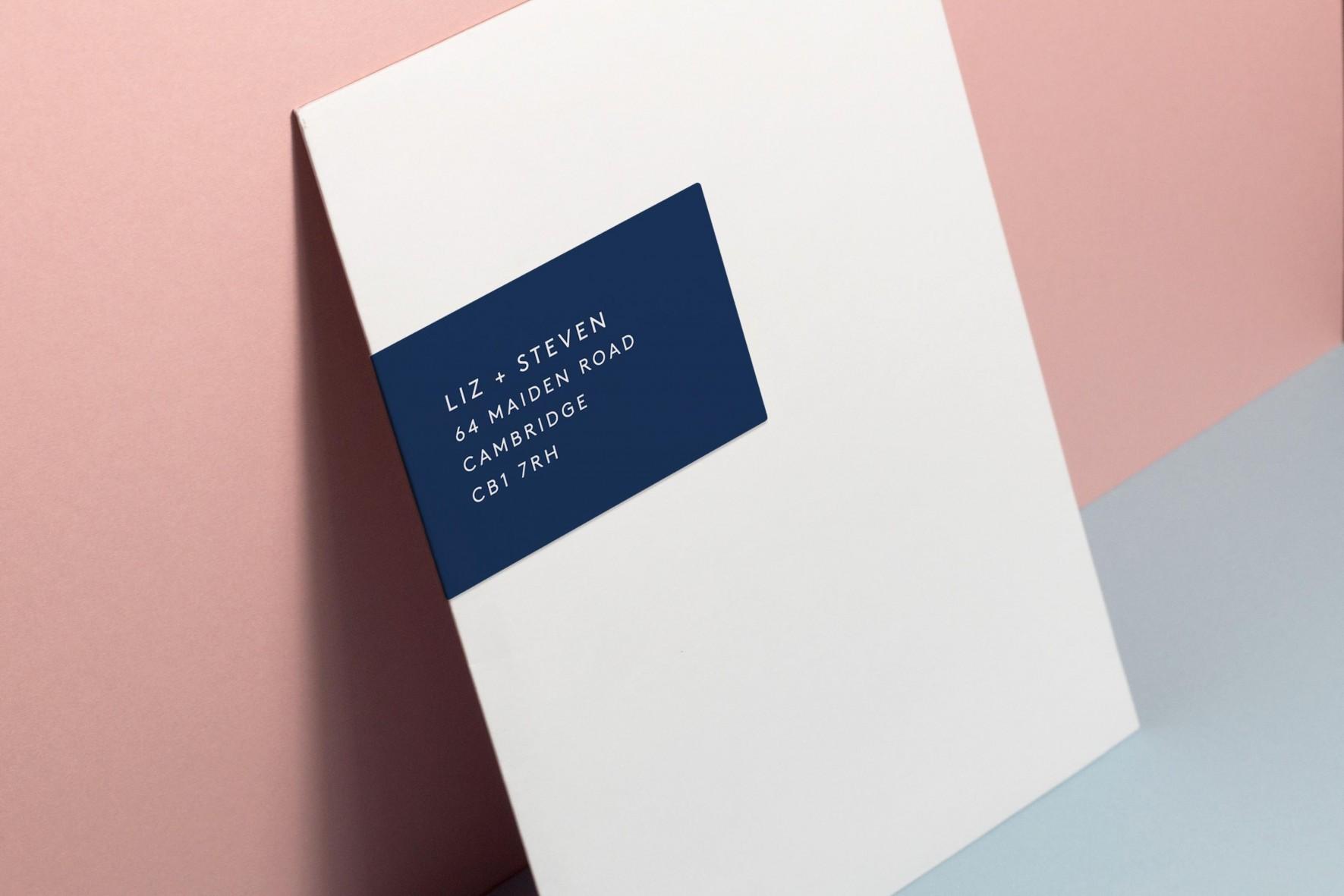minimal modern typographic wedding invitation envelope