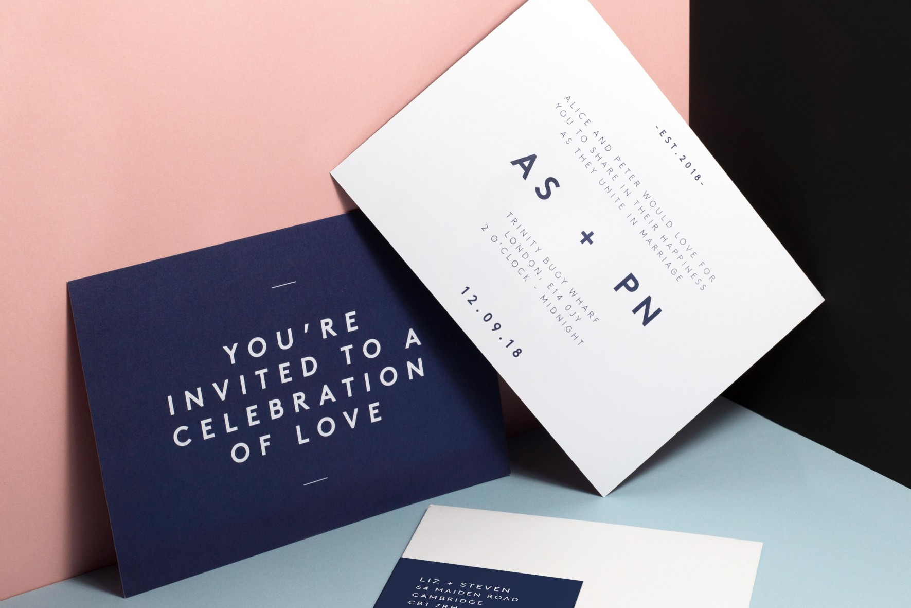 Modern simple wedding invitation - scandi style wedding stationery by www.rosepaperscissors.com
