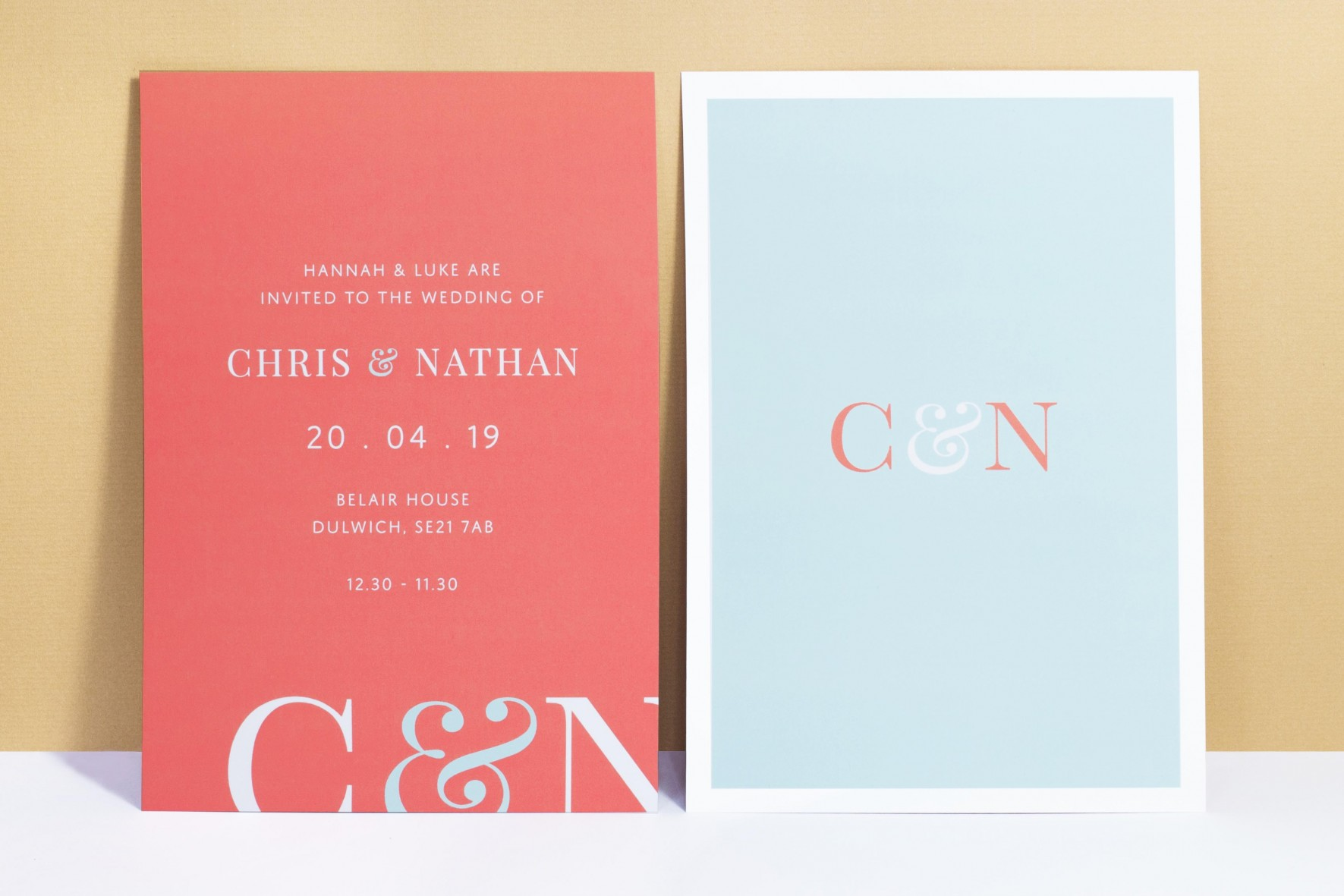 Modern colourful wedding invitation with bold initials - coral and baby blue - wedding stationery by www.rosepaperscissors.com