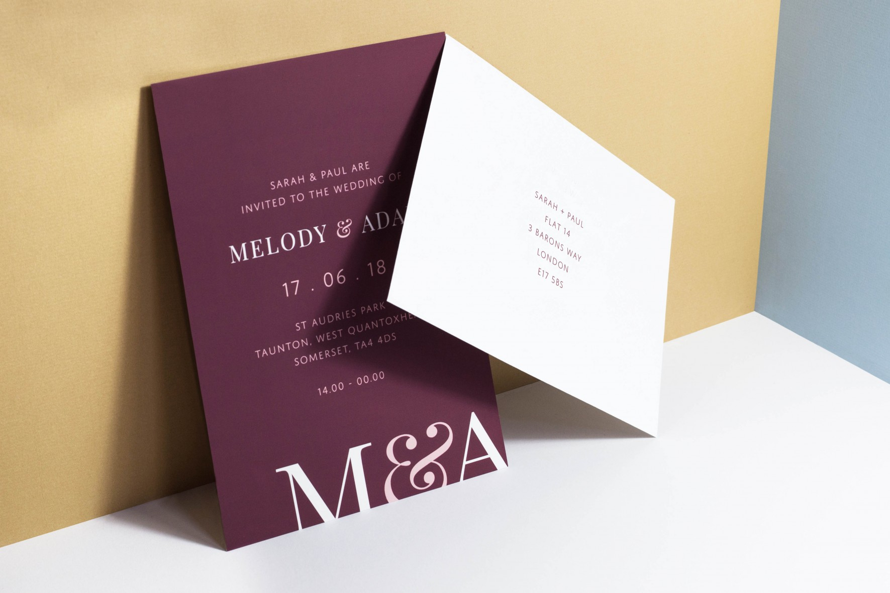 Modern colourful wedding invitation with bold initials - wedding stationery by www.rosepaperscissors.com