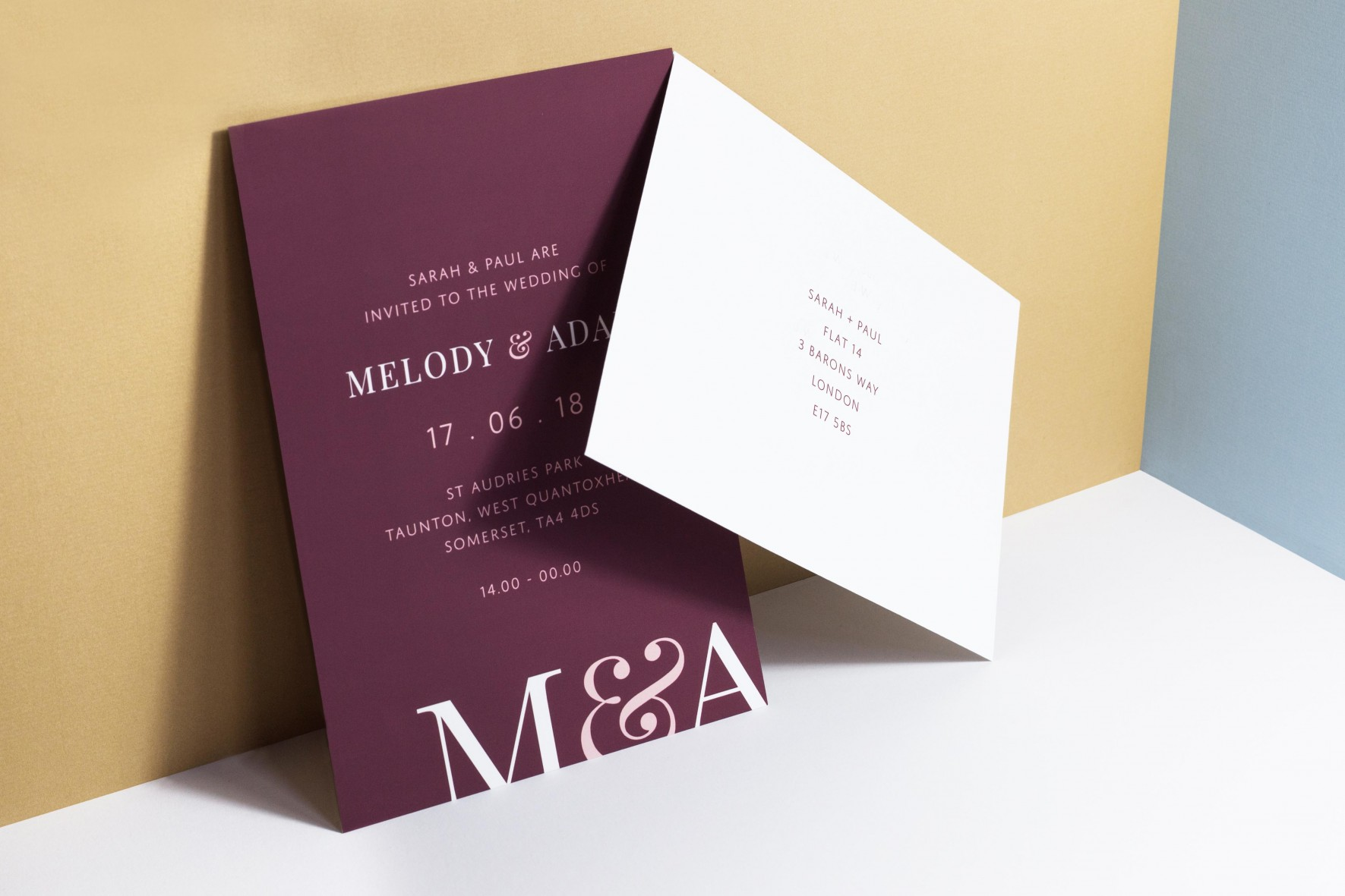 Typographic, modern wedding invitation - bold couples initials