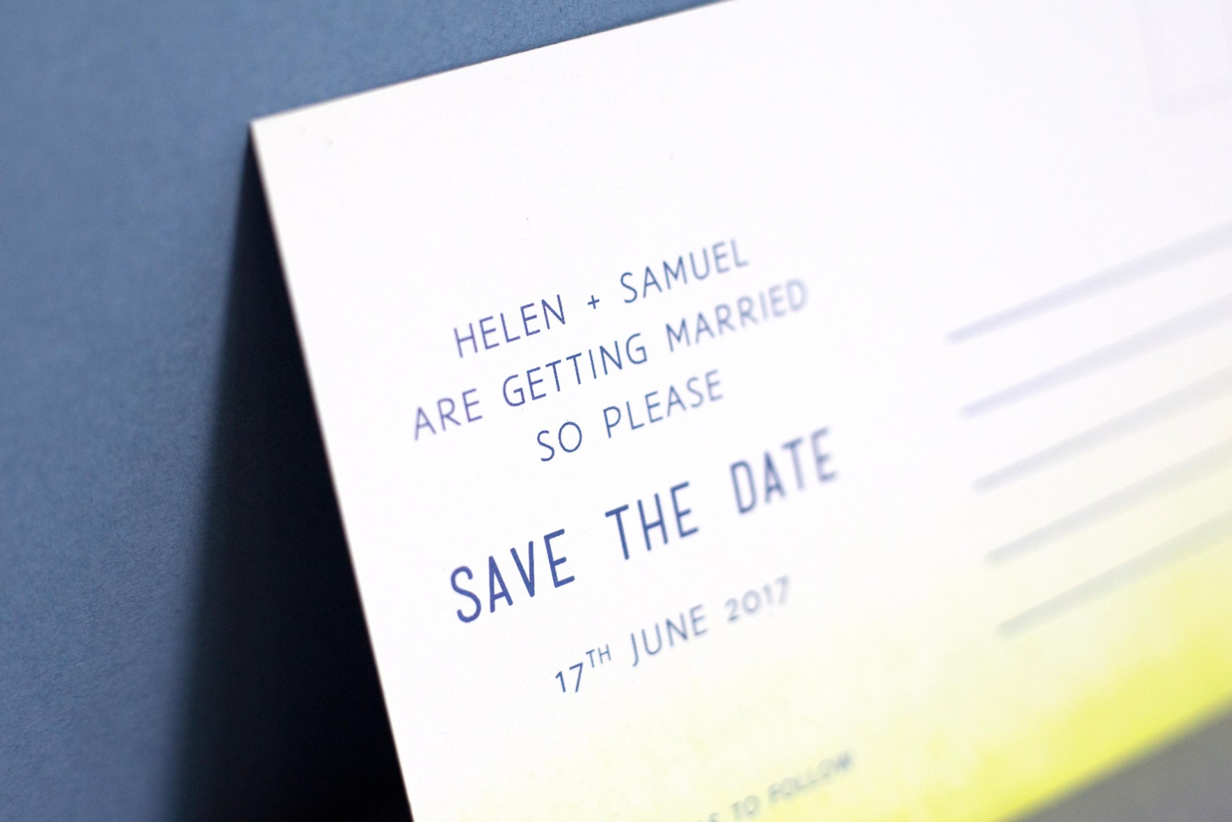 Dip dye, Shibori, yellow and blue wedding save the date wedding stationery design by www.rosepaperscissors.com