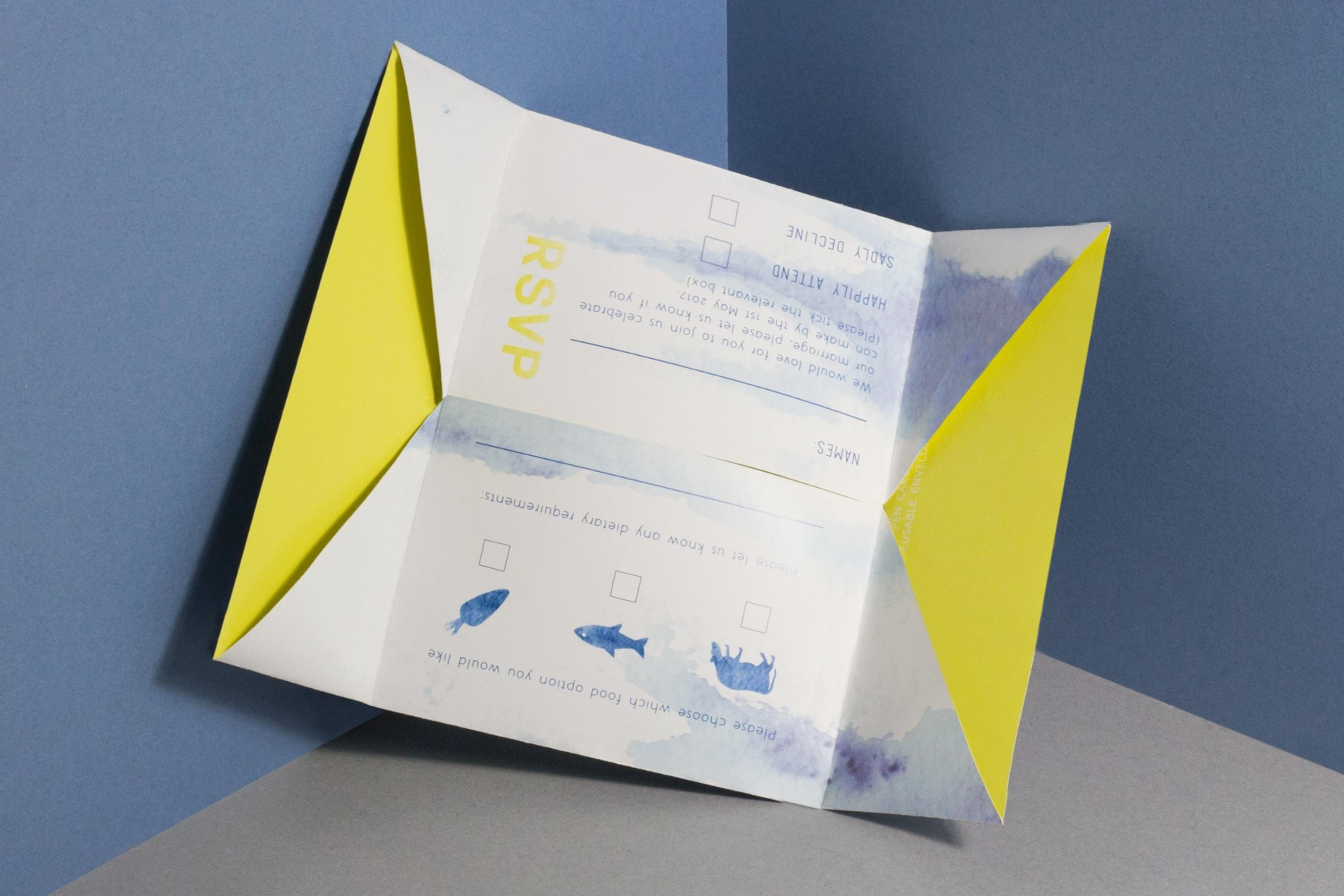 Tie dye dip dye blue and yellow eco friendly modern wedding invitation with folded, reversible envelope . Wedding stationery design by www.rosepaperscissors.com