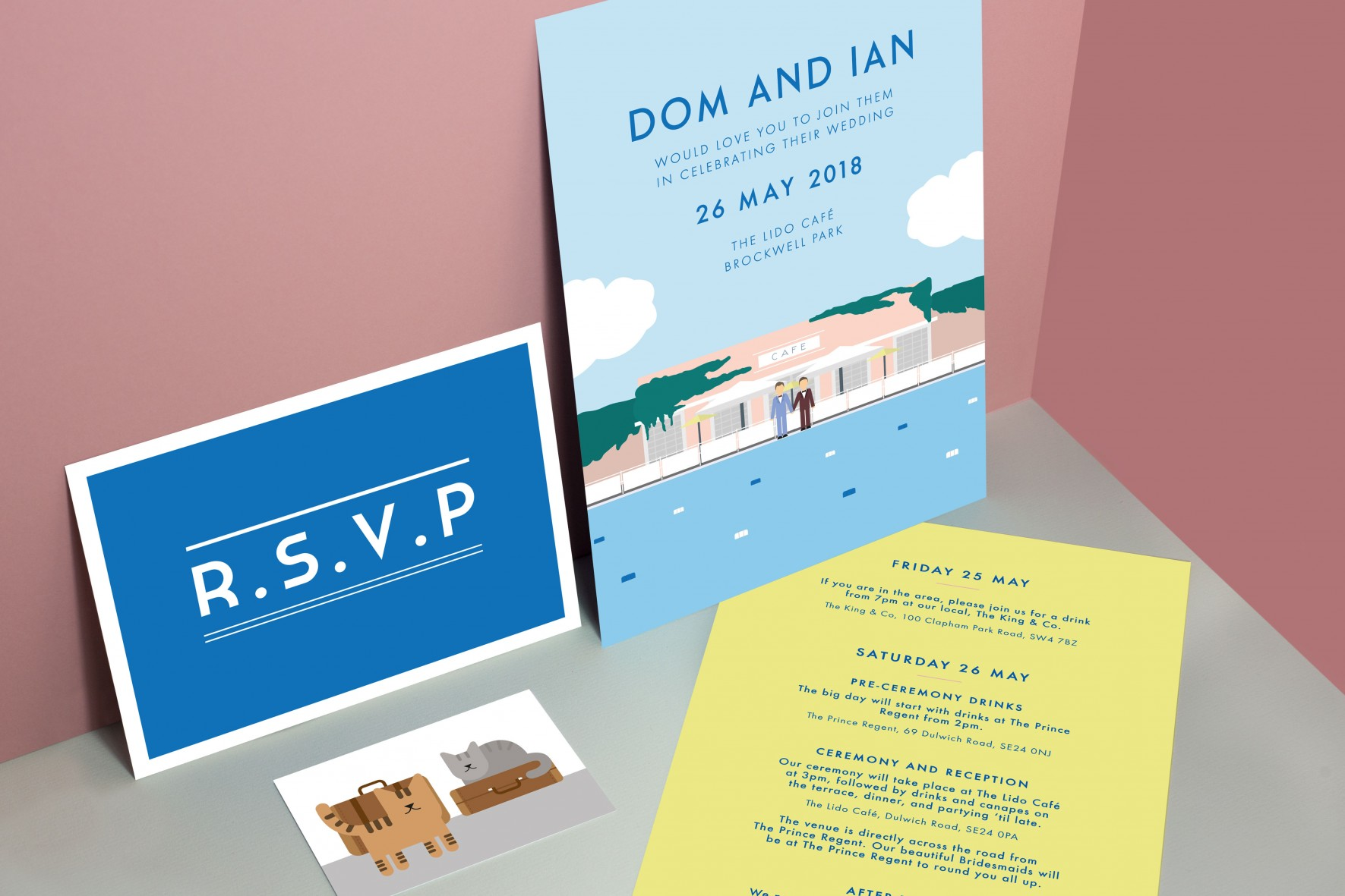 Art deco travel poster inspired colourful modern wedding invitation - Brockwell Lido by www.rosepaperscissors.com