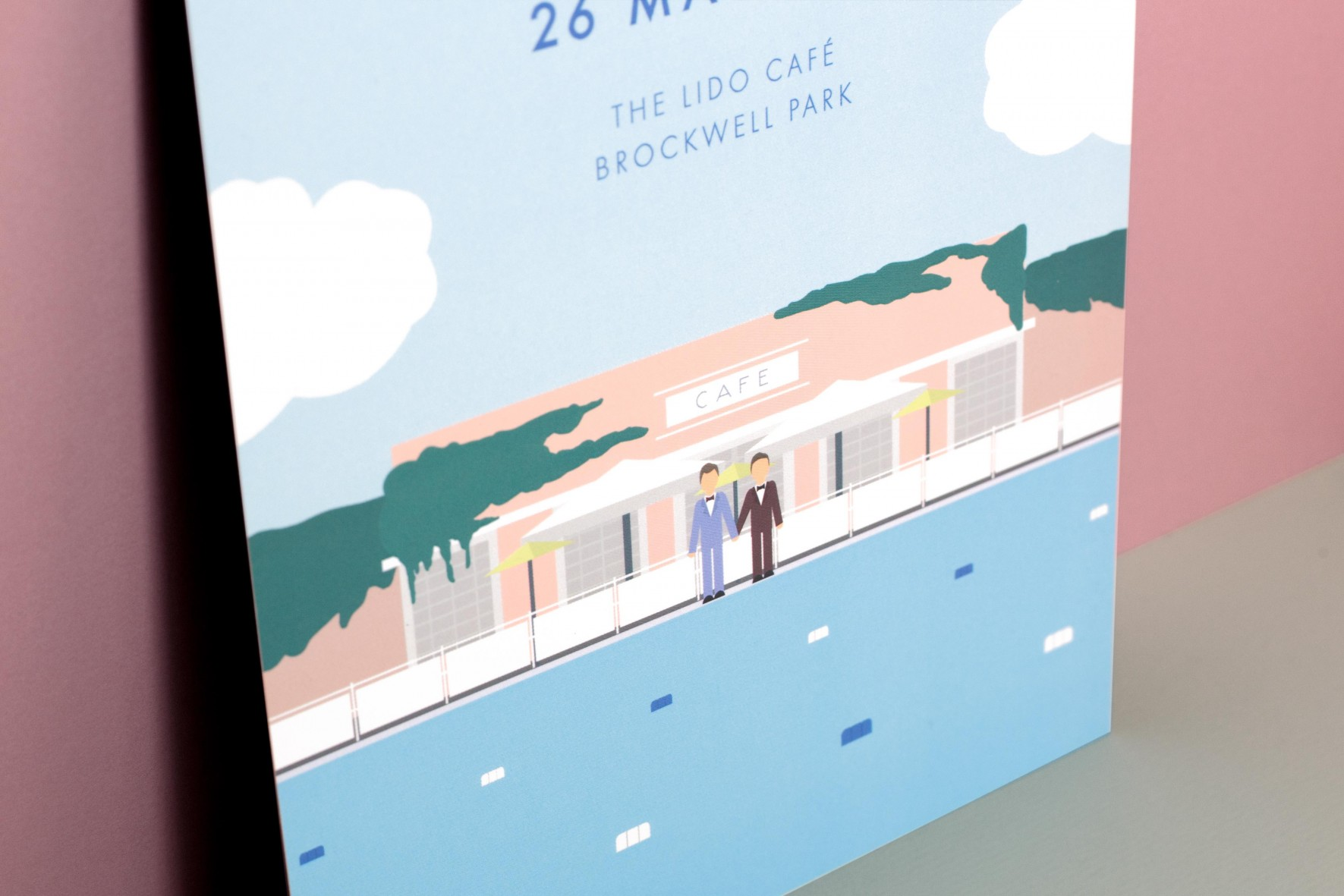 Art deco travel poster inspired wedding invitation illustration - gay wedding - Brockwell Lido by www.rosepaperscissors.com