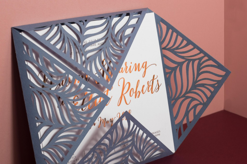 Copper foil wedding invitation with laser cut pocket - bespoke wedding stationery by www.rosepaperscissors.com