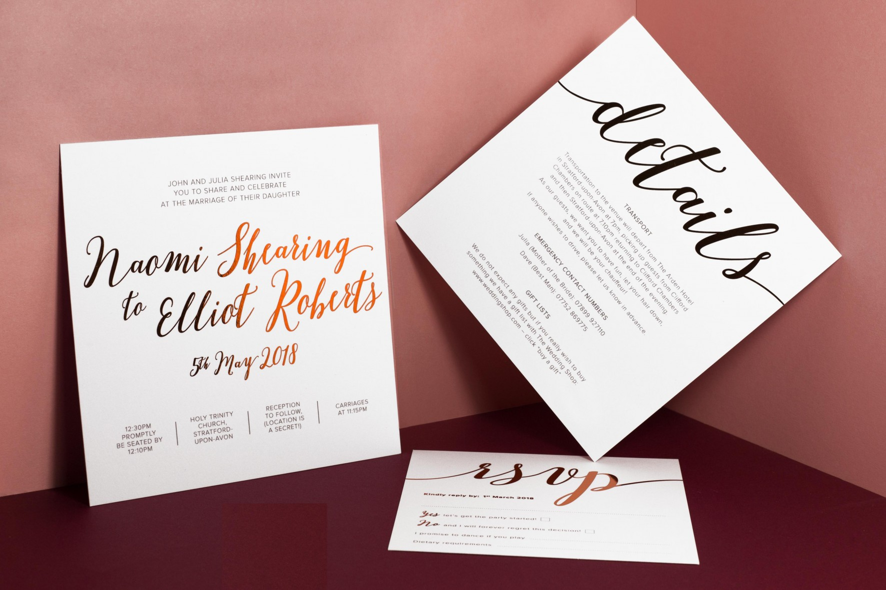 Copper foil wedding invitation , bespoke wedding stationery by www.rosepaperscissors.com