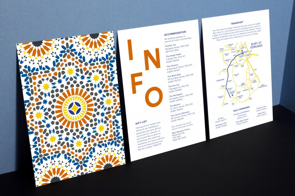 Modern wedding invitation inspired by moroccan tile patterns with bold typography in blue, yellow and orange - Bespoke stationery design by www.rosepaperscissors.com