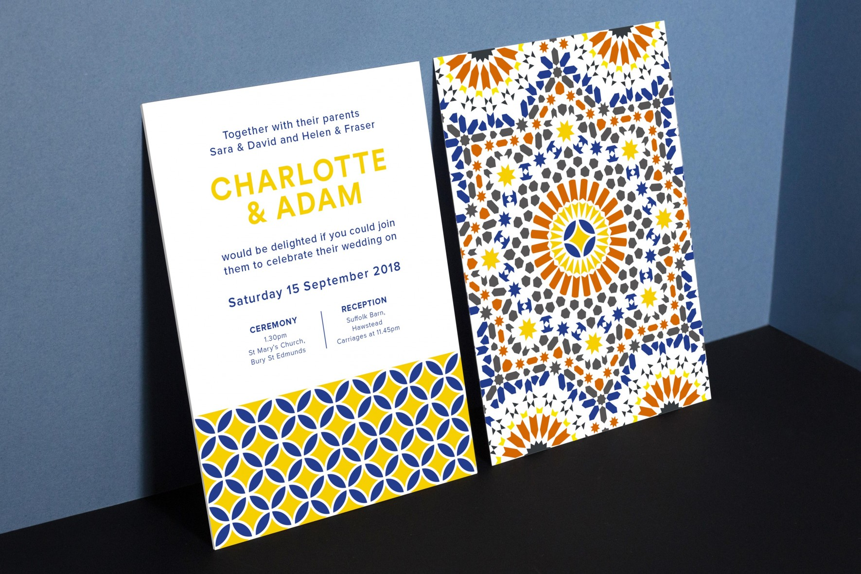 Moroccan theme wedding invitation modern typography tile pattern