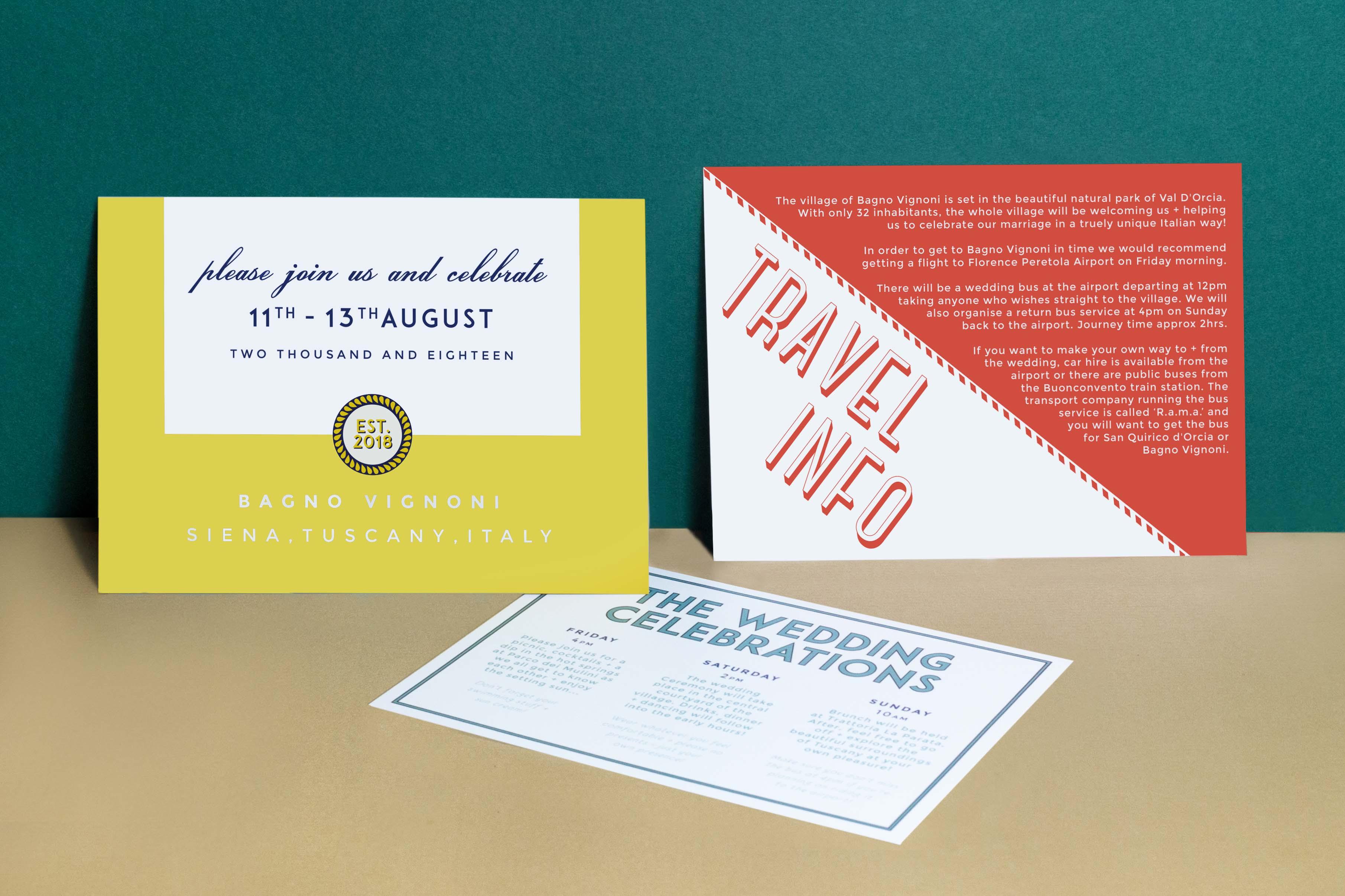 Vintage retro italian typography wedding invitation for italy