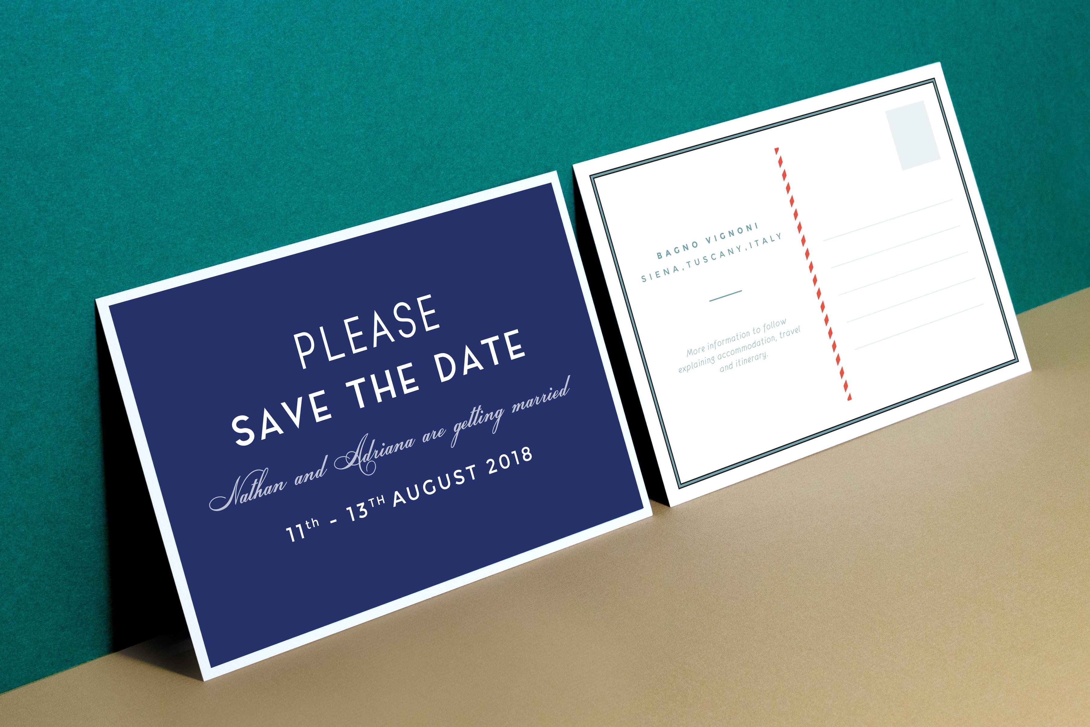 Vintage retro italian typography wedding save the date postcard