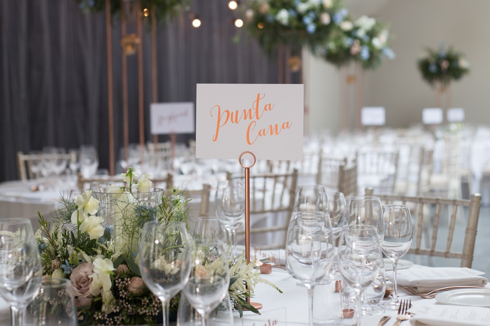 Copper foil calligraphy Wedding Styling and Stationery at Blackwell Grange by www.rosepaperscissors.com
