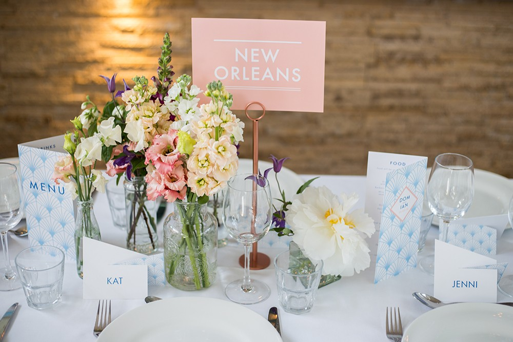 Wedding table styling , stationery and decoration. Art deco inspired in pastel colours by www.rosepaperscissors.com