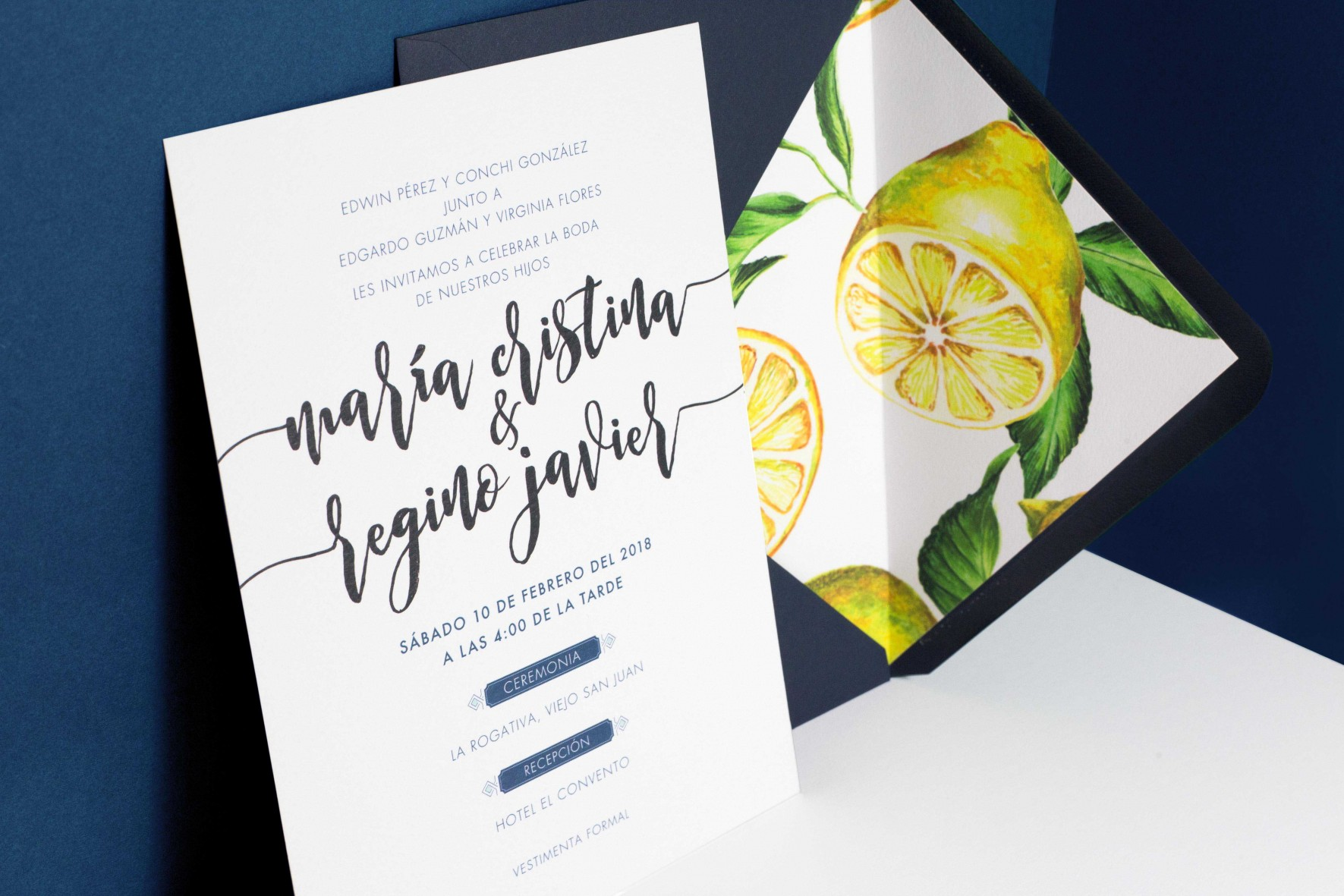 Portuguese blue tile watercolor wedding invitation with lemon envelope liner by www.rosepaperscissors.com