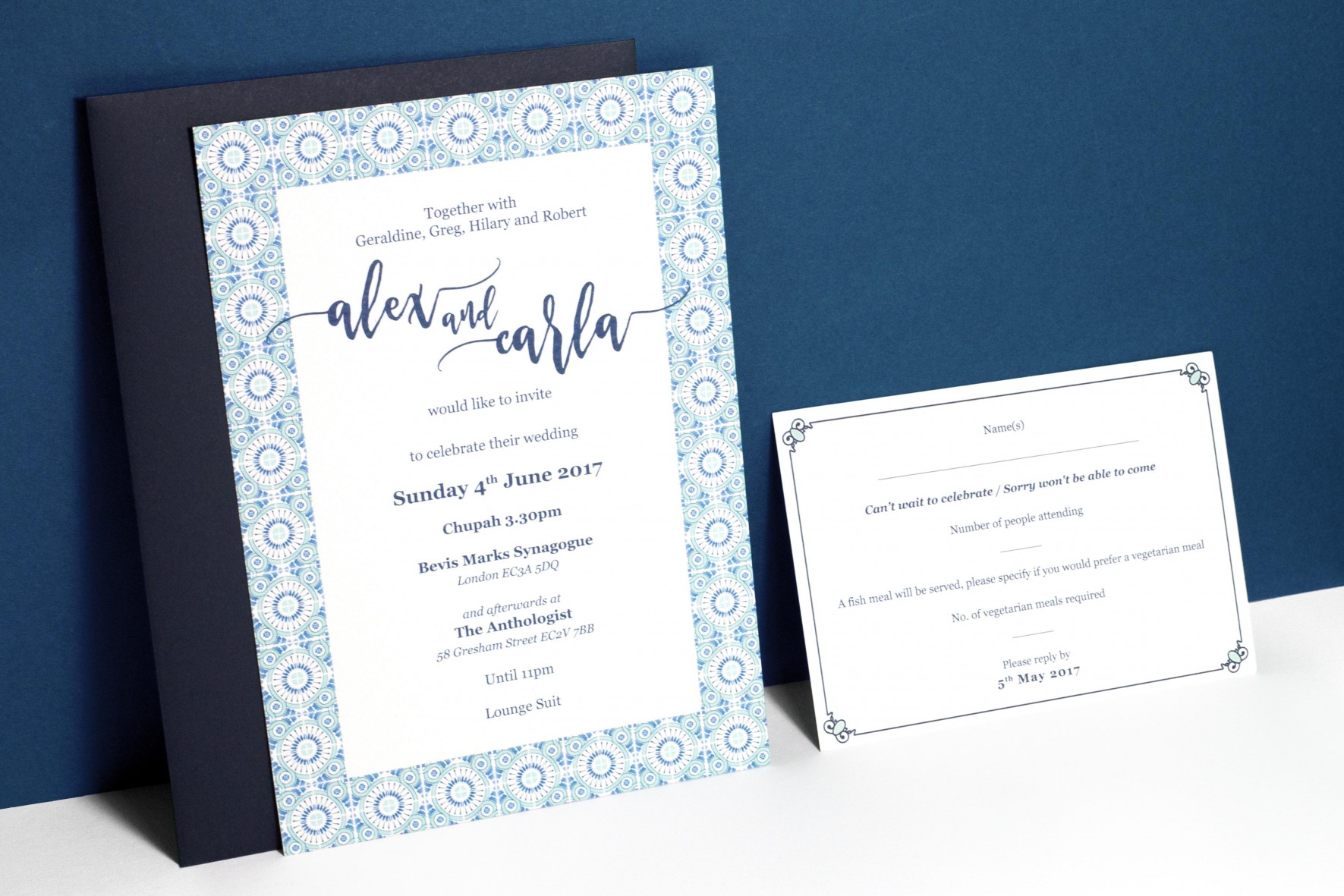 Portuguese blue tile watercolor wedding invitation with by www.rosepaperscissors.com