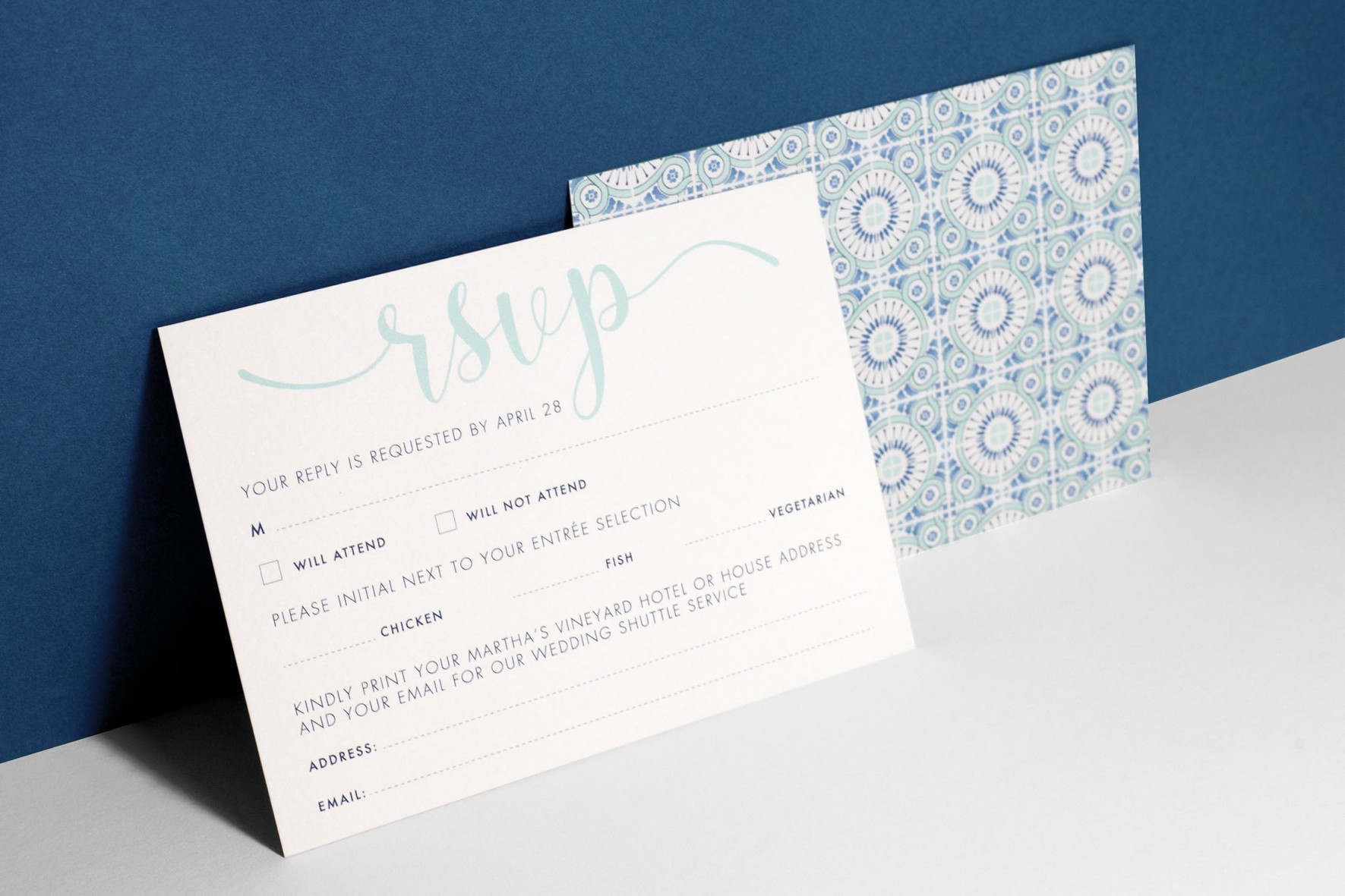Portuguese blue tile watercolor wedding invitation RSVP by www.rosepaperscissors.com