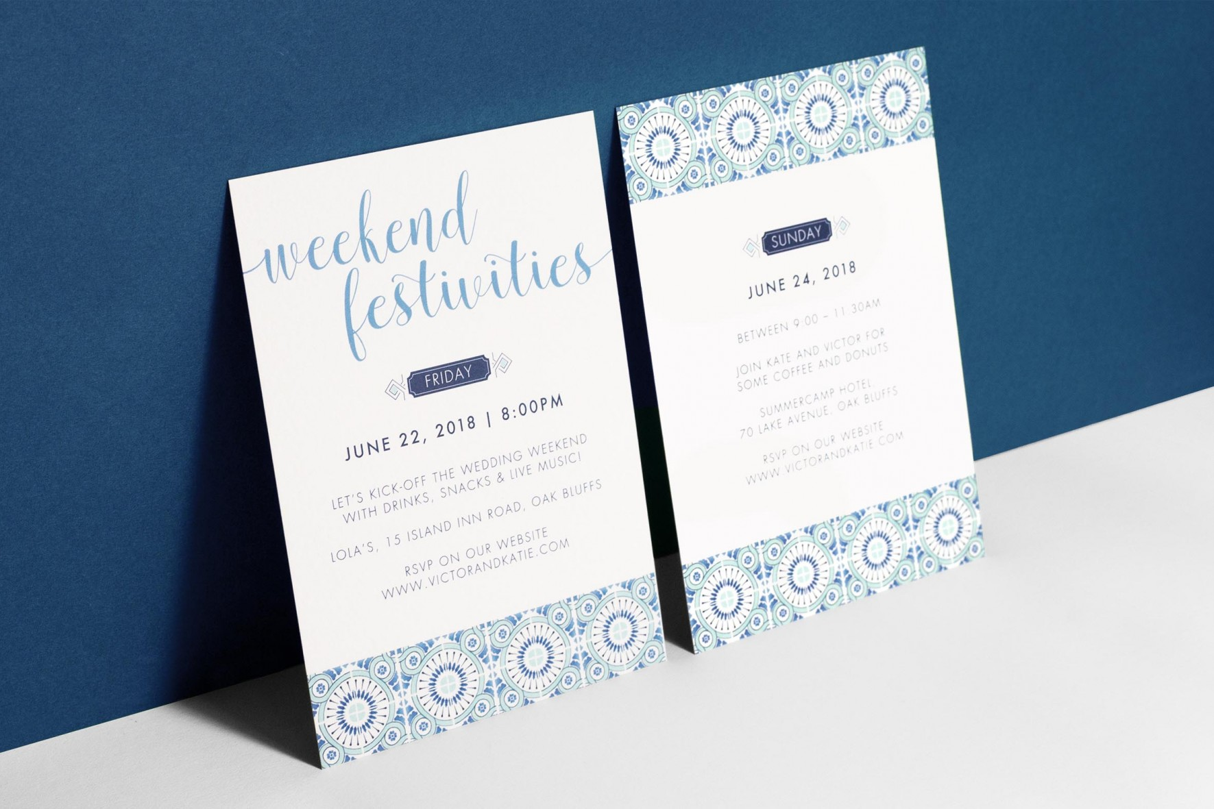 Portuguese blue tile watercolor wedding invitation by www.rosepaperscissors.com
