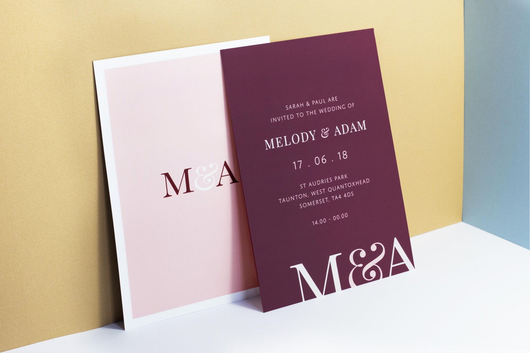 Modern colourful simple wedding invitation - wedding stationery by www.rosepaperscissors.com