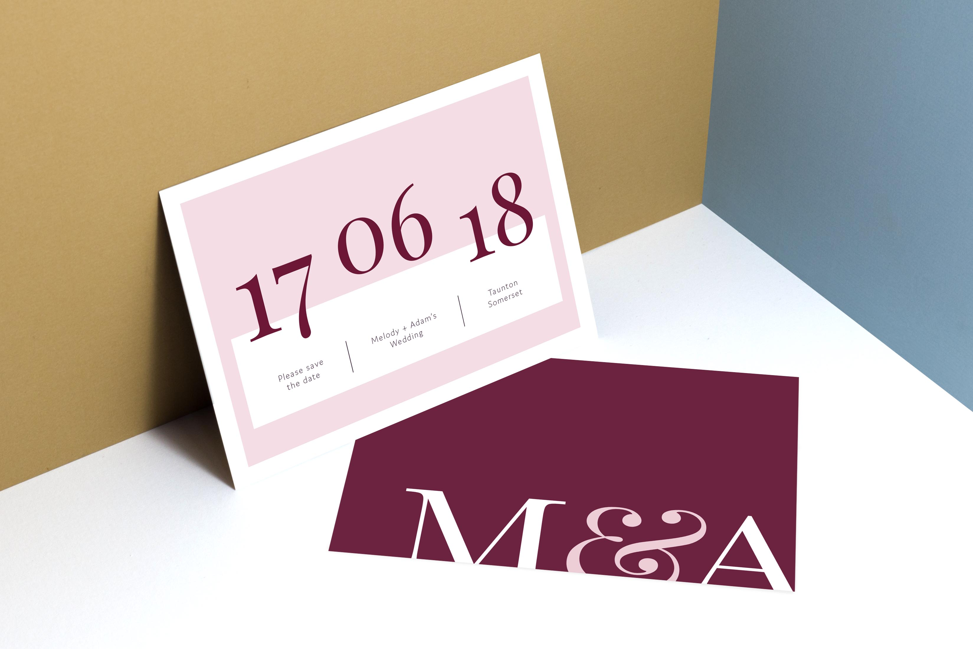 Modern colourful simple wedding save the date - wedding stationery by www.rosepaperscissors.com