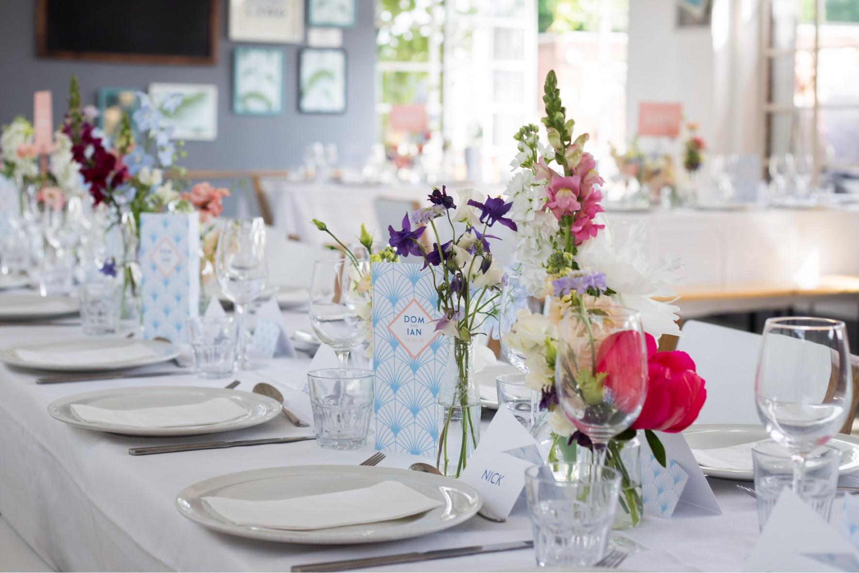 Brockwell Lido Wedding - Modern wedding styling and stationery by www.rosepaperscissors.com