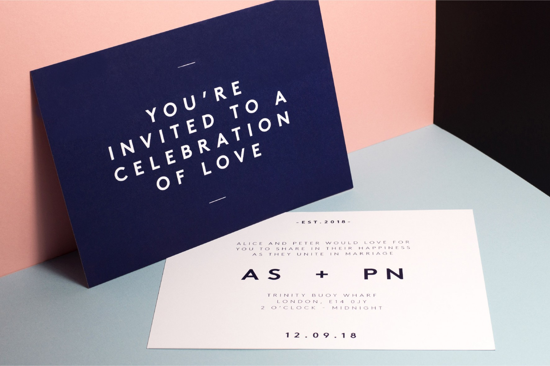Modern simple wedding invitation scandi style - navy and white - wedding stationery by www.rosepaperscissors.com