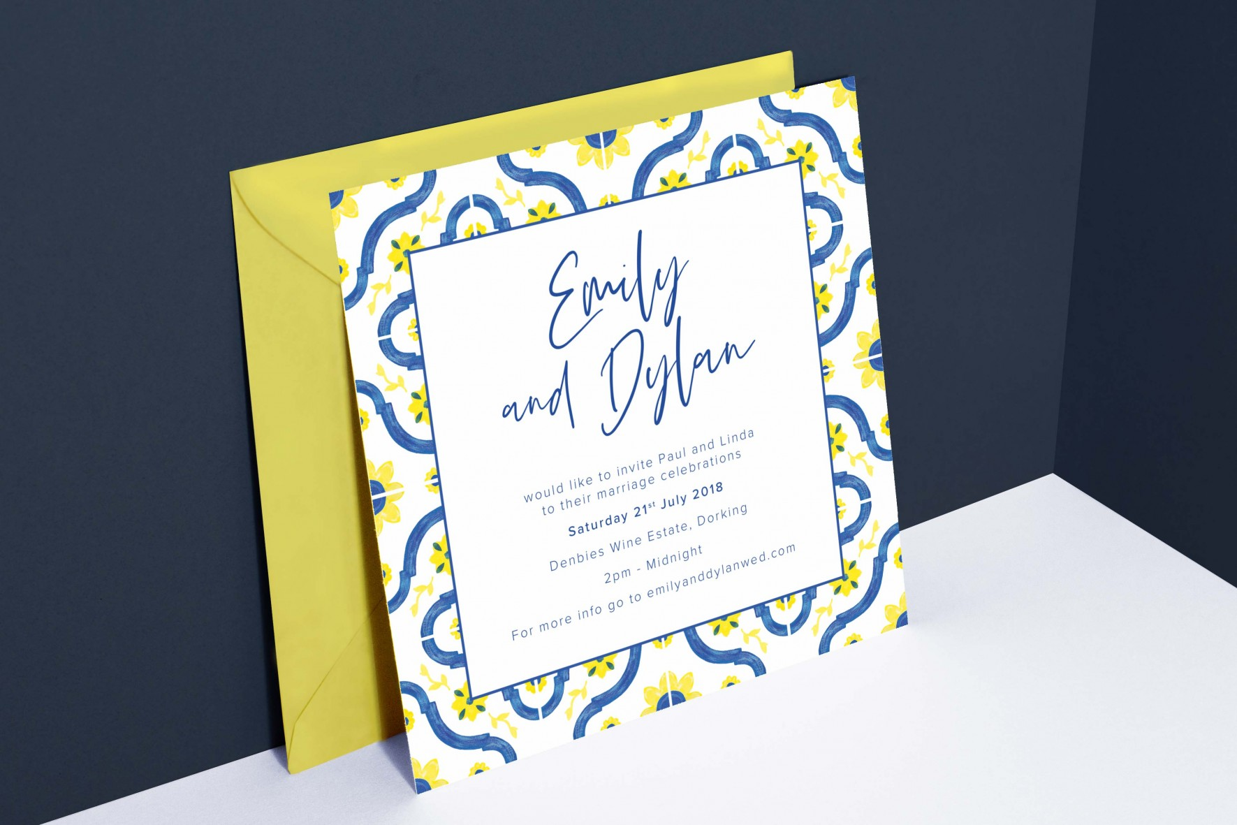 Colourful Spanish tile wedding invitation - watercolour tile pattern - wedding stationery by www.rosepaperscissors.com