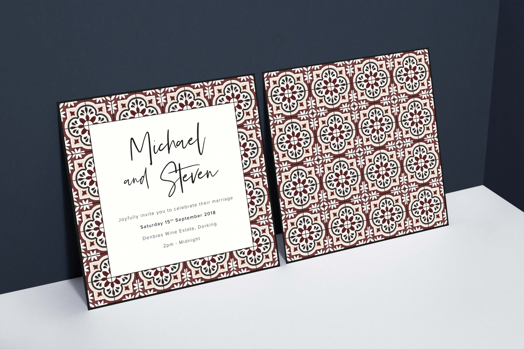 watercolour tile pattern masculine wedding invitation - gay wedding- stationery by www.rosepaperscissors.com