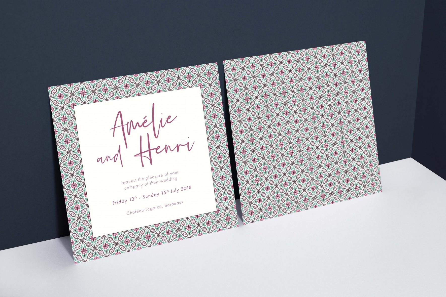 Spanish tile pattern watercolour wedding invitation - stationery by www.rosepaperscissors.com