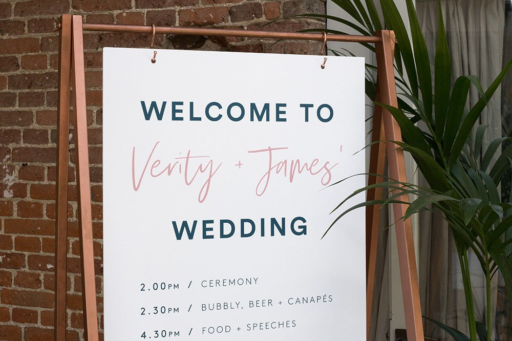 modern wedding welcome sign on copper stand - wedding styling and stationery at Godwick Great Barn by www.rosepaperscissors.com