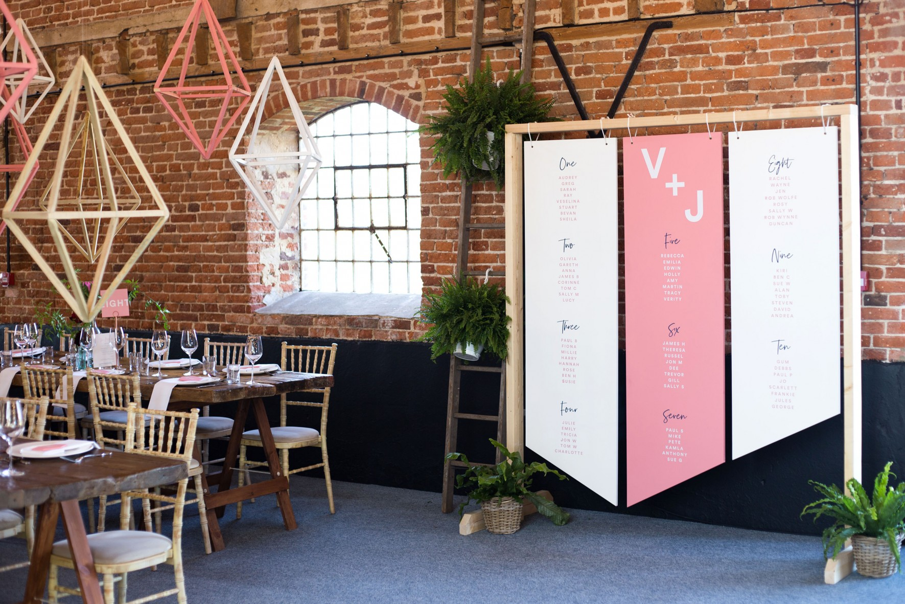 Geometric alternative wedding_Godwick great barn