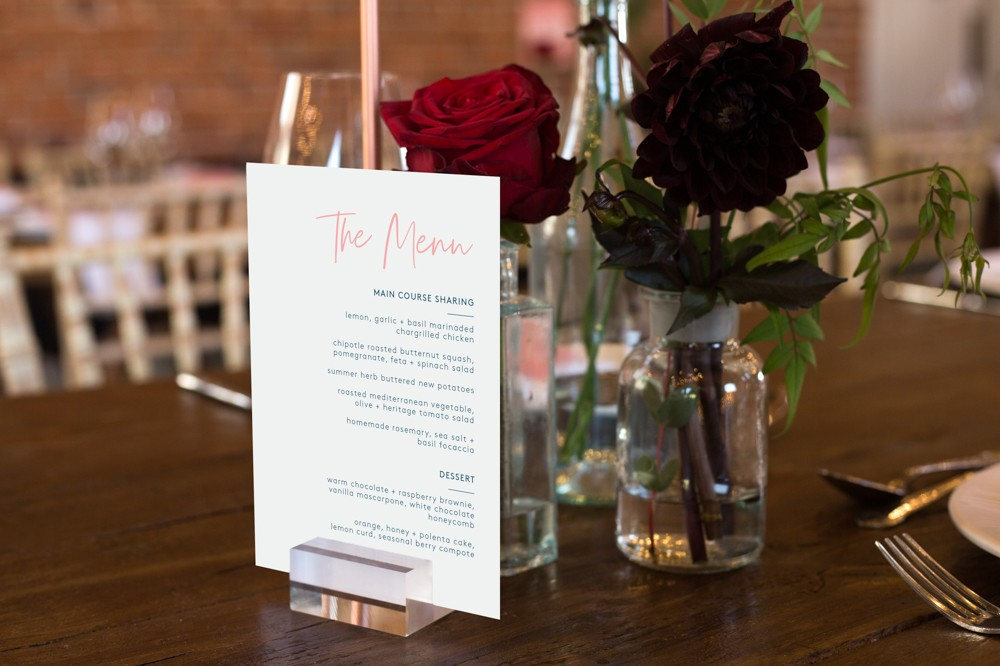 modern wedding menu in acrylic stand - table decorations - styling and stationery by www.rosepaperscissors.com