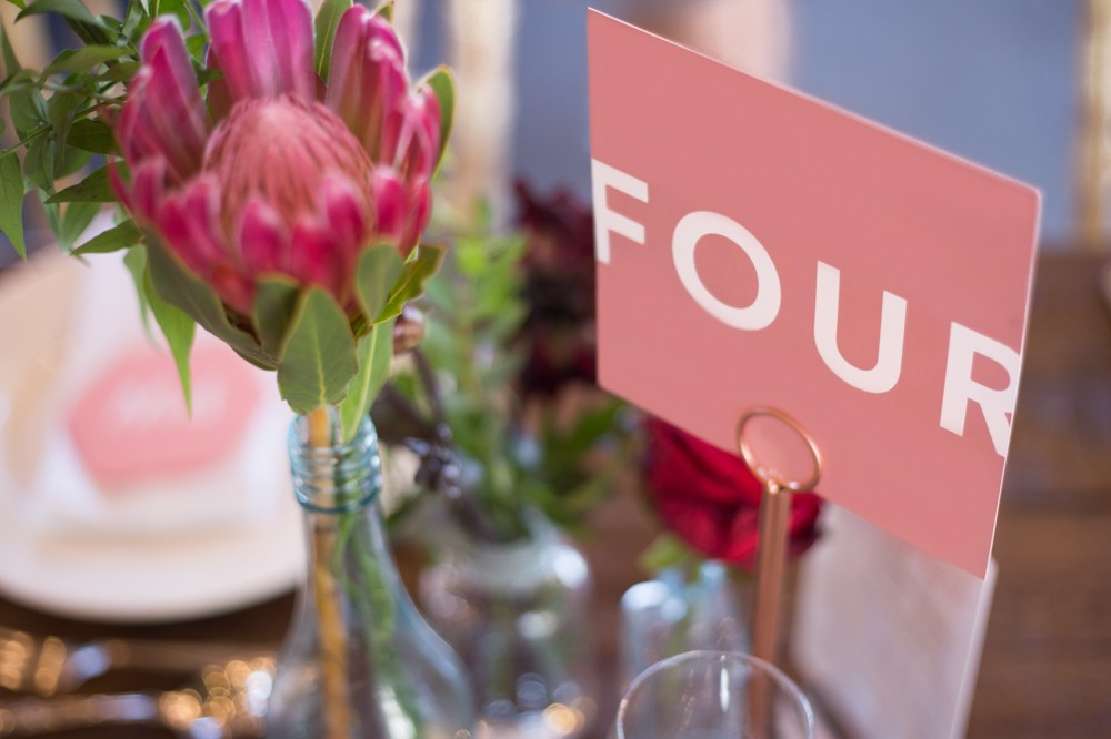modern wedding table numbers - table decorations - styling and stationery by www.rosepaperscissors.com