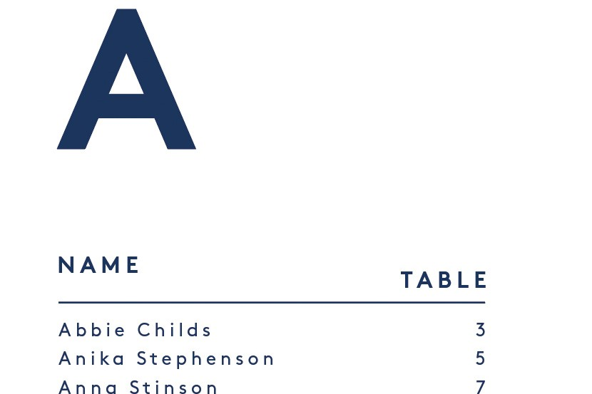 Modern minimal table plan design, scandi style, blue and white bold initials alphabetical wedding stationery 3