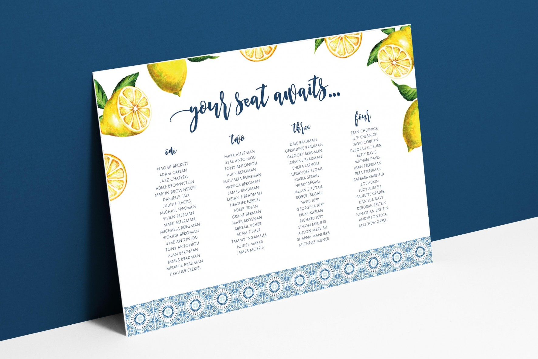 Portuguese blue tile and lemons wedding table plan wedding stationery by www.rosepaperscissors.com