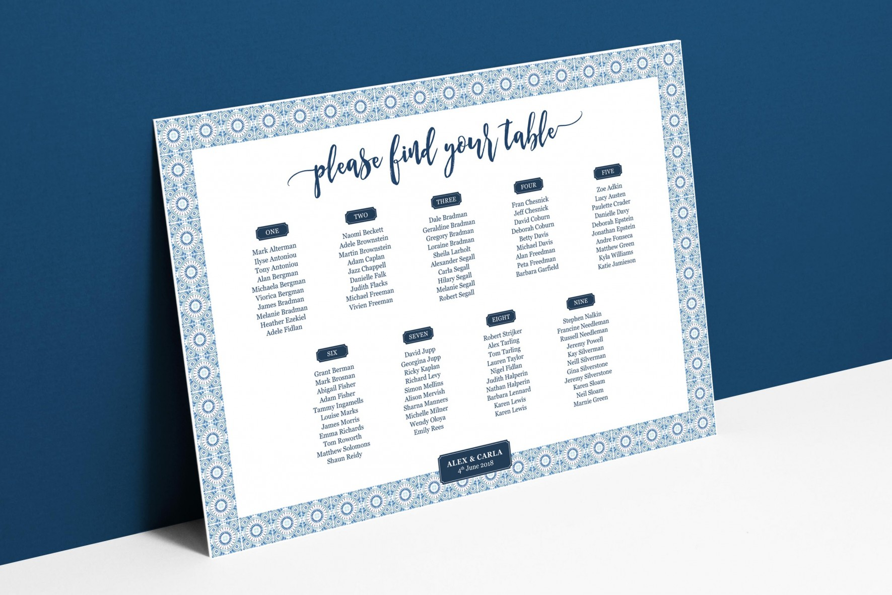 Portuguese blue tile wedding table plan for Portugal wedding stationey by www.rosepaperscissors.com