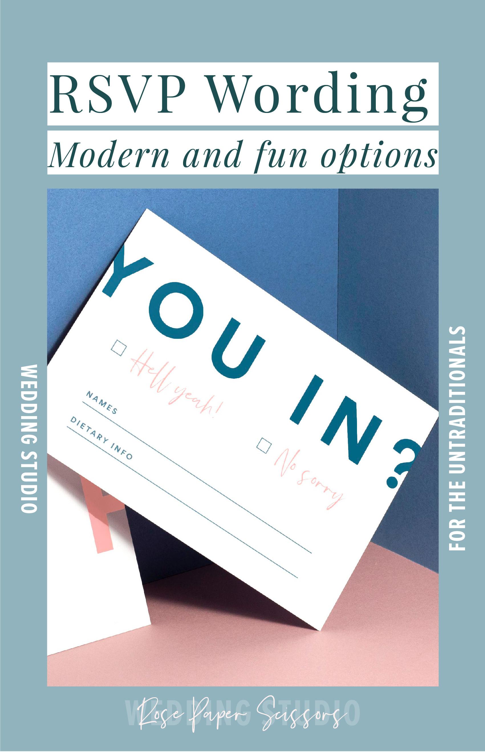 modern fun RSVP wording wedding invitation
