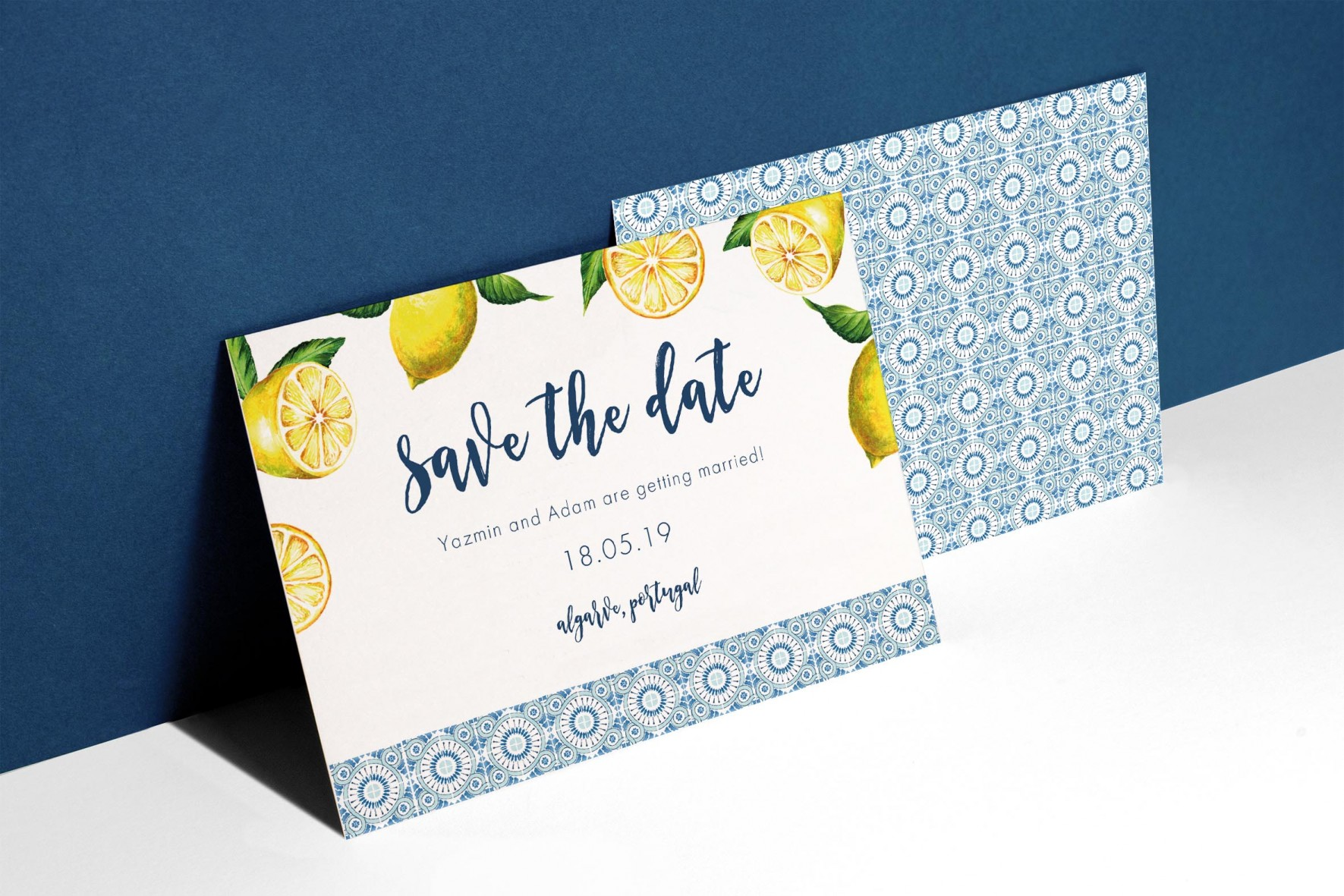 Portuguese blue and tile lemons wedding save the date