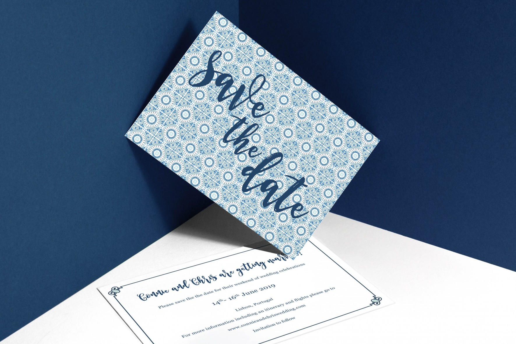 Portuguese blue tile wedding save the date portugal destination wedding