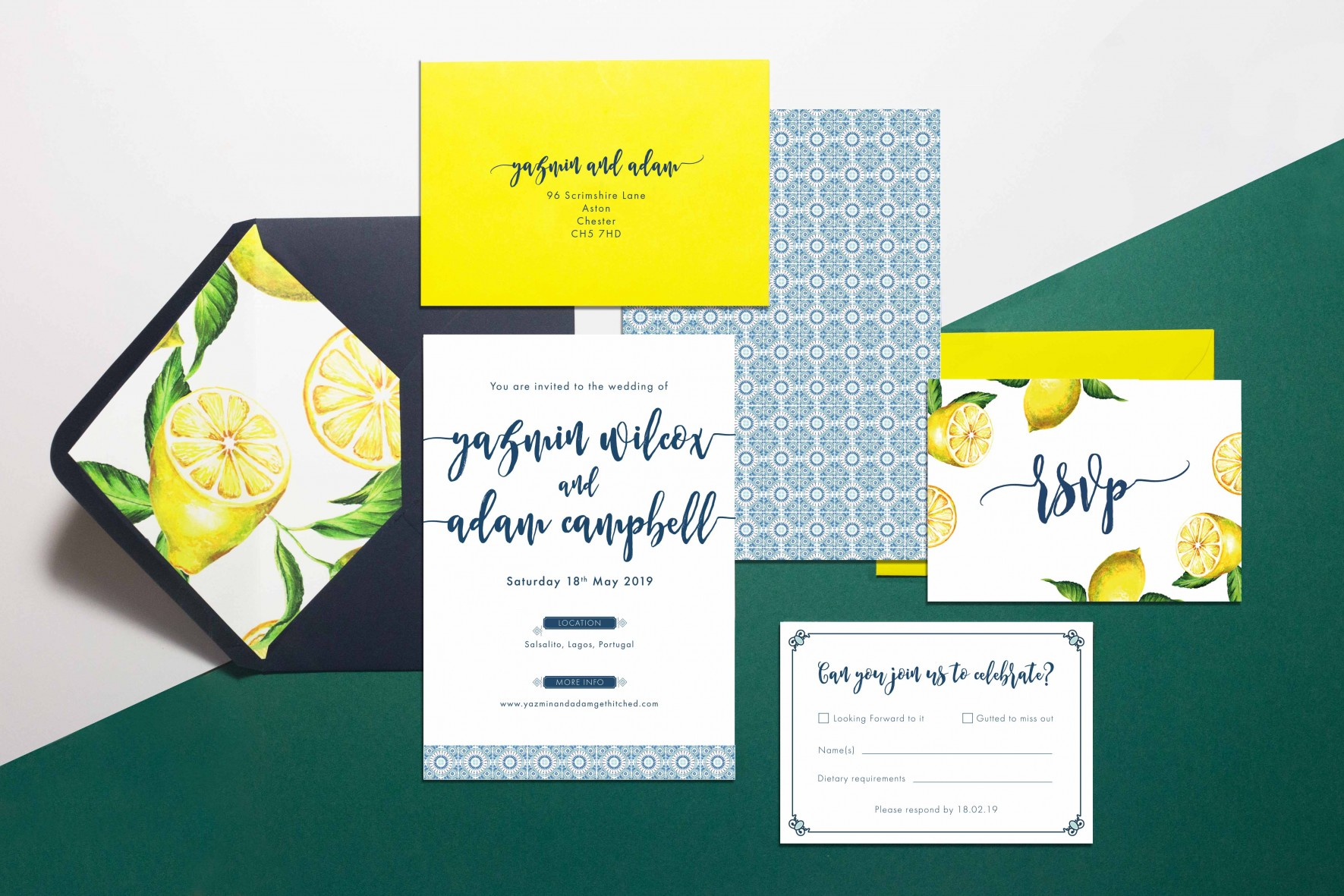 Blue Portuguese tile Wedding Invitation_with lemons