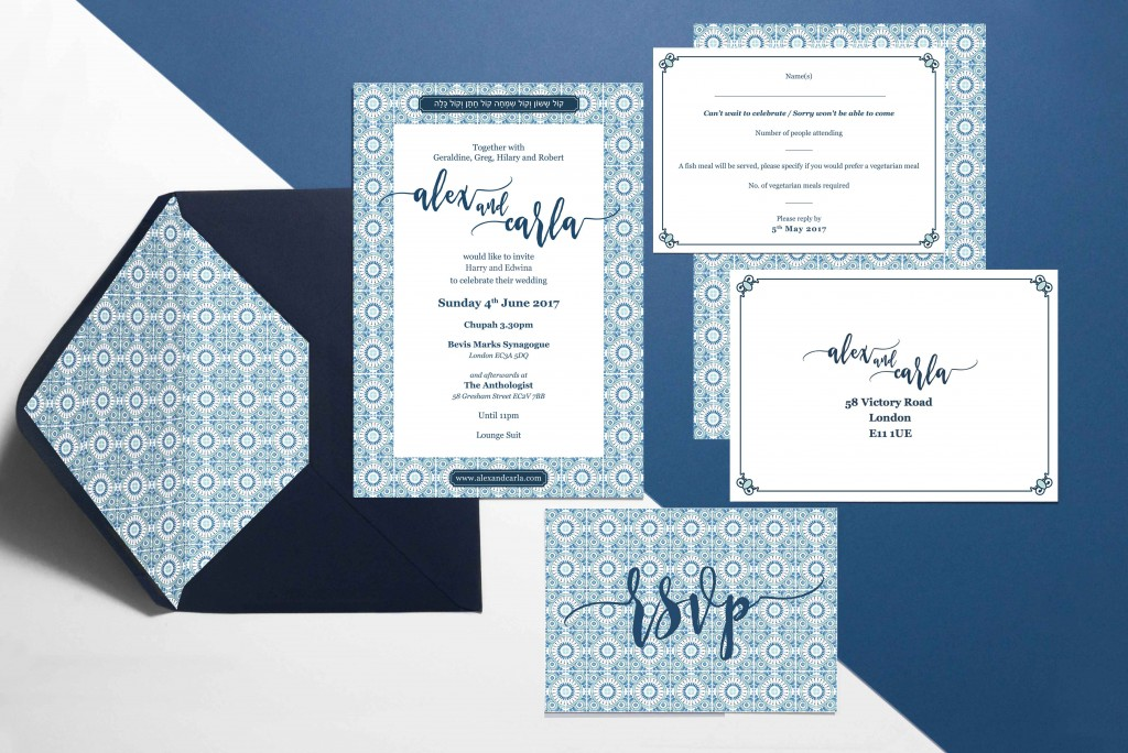Blue Portuguese tile Wedding stationery Invitation set